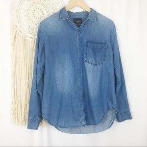 ZARA Blue Denim Jean Snap Buttondown Blouse Small